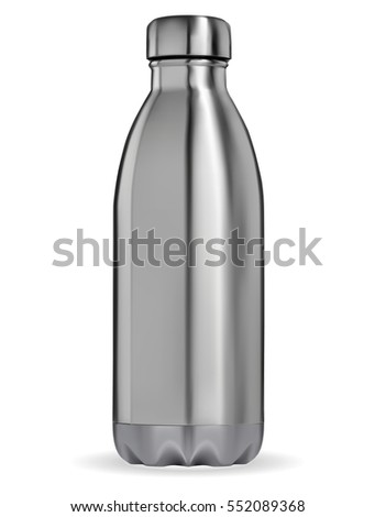 The closed Metal bottle on a white background. Vector EPS-10