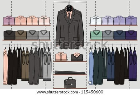 The clothes for men are hanged out on the shop display - stock vector
