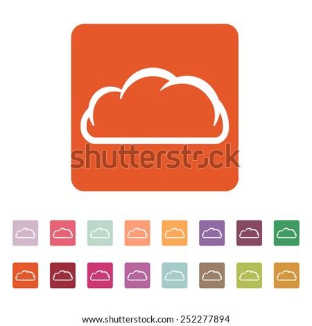The cloud icon. Cloud symbol. Flat Vector illustration. Button Set - stock vector