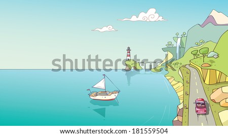 The coast line with the lonely red car on a road. There is a white yacht in the ocean and the beacon far away near the mountain. The vector EPS v.10 is layered. - stock vector