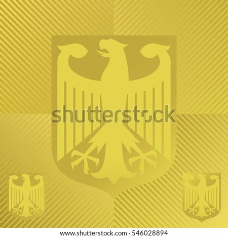 The Coat of Arms of Germany in Gold on Gold Colored Background