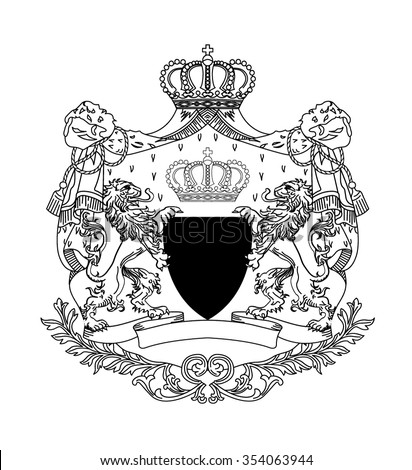 The coat of arms with two lions - stock vector
