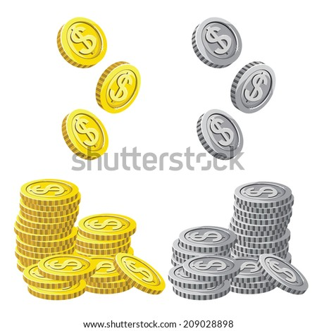 The coin set isolated on white background. Vector Illustration  - stock vector