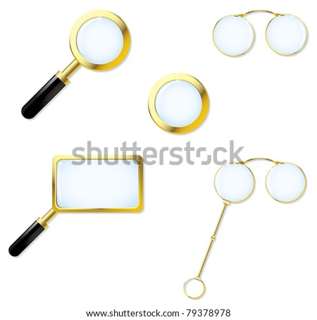 The collection consists of magnifying glasses, pensions and lorgnette - stock vector