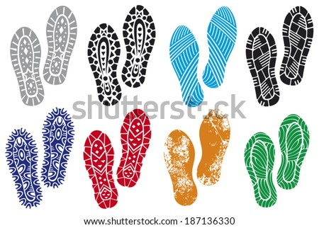 the collection of a imprint soles shoes (sole prints, black vector trail foot, shoe print, shoes silhouette) - stock vector