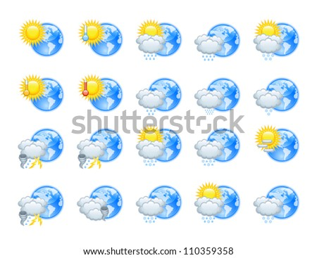 The collection of different weather icons - stock vector
