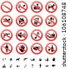 The collection of forbidden signs, with several printable versions, isolated on the white background - stock photo