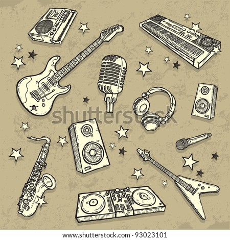 The collection of musical instruments - stock vector