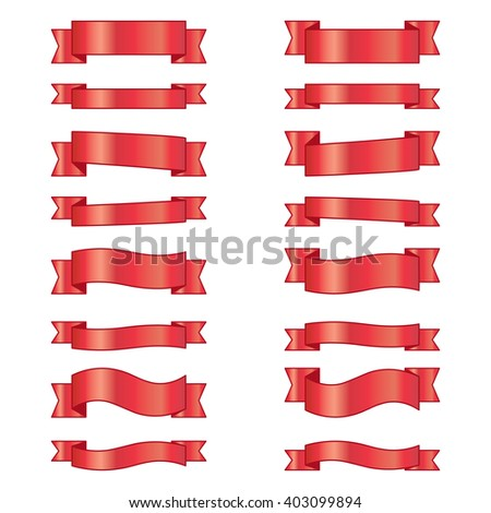 The collection of red ribbons isolated on white. Vector illustration for your design project.  Set of banners for copyspace - stock vector