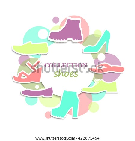 The collection of shoes. Vector illustration. A set of flat images of shoes. logo for a shoe store. - stock vector
