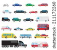 The collection of simple and different kinds and types of cars - stock vector