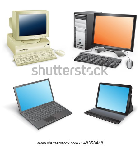 The collection which shows evolution of computers isolated on a white background - stock vector