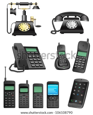 The collection which shows evolution of phones isolated on a white background - stock vector