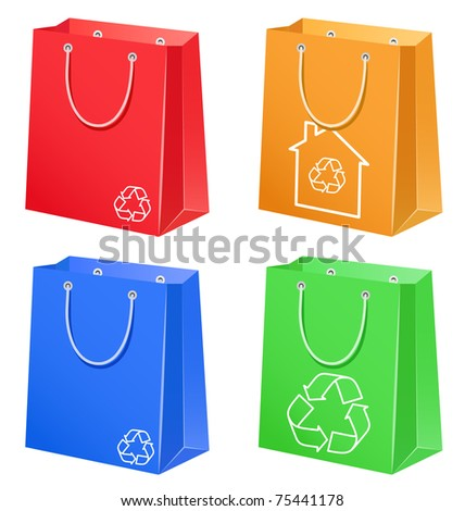The color bags with eco symbol