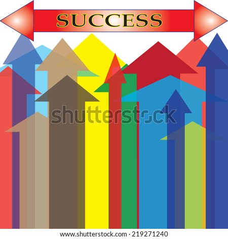 The Colorful Arrow Upward to Success Point.