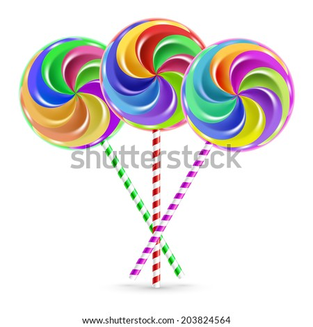 The colorful lollipops on striped sticks over white - stock vector