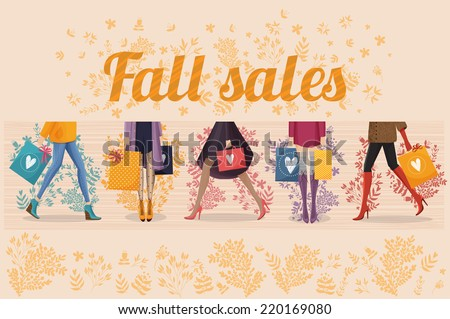 The colorful vector illustration of five women with shopping bags. Autumn and summer sales for your design. - stock vector
