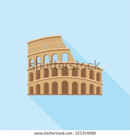 The Colosseum in Rome. A simple icon in flat style with shadow. Colorful vector illustration. Architectural and tourist landmarks. - stock vector