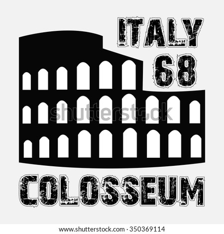 the Colosseum Roma Italy fashion design print for t-shirt - vector illustration - stock vector