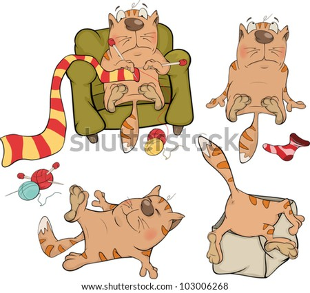 The company of cheerful cats cartoon - stock vector