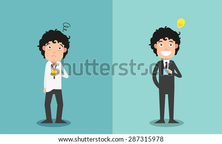 The comparison of two businessmen for their work enthusiasm, illustration,vector - stock vector