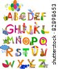 The complete childrens english alphabet spelt out with different fun cartoon animals and toys. ABC.  Alphabet design in a colorful style. - stock vector