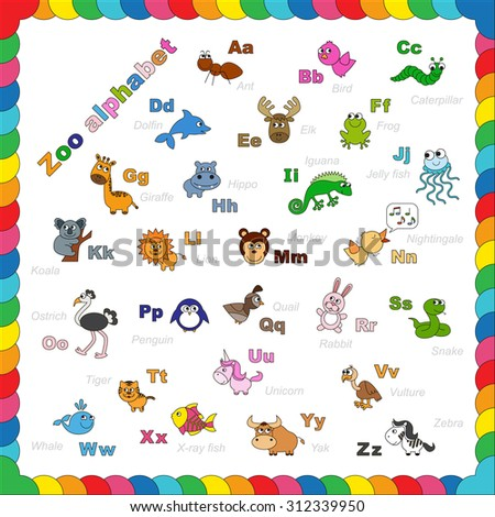 The complete kids english animal zoo alphabet with fun cartoon animals. ABC. Zoo alphabet design in outline style. Outline zoo alphabet to be colored. Letters. Learn to read. Isolated.  - stock vector