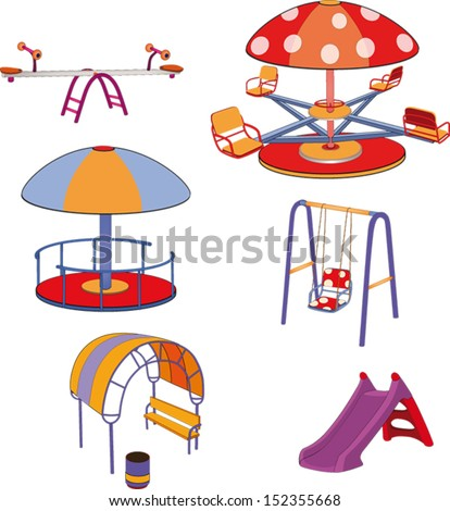 The complete set a children's swing. Cartoon - stock vector