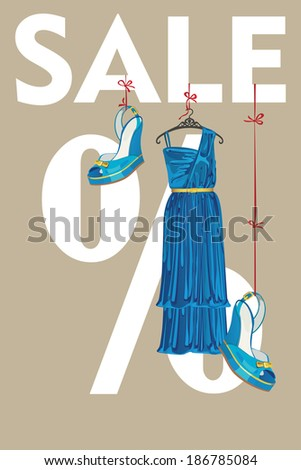 The composition of blue silk party dress and high heeled shoes.They hang on the tapes on the letters sale and the percent sign. Vector design template