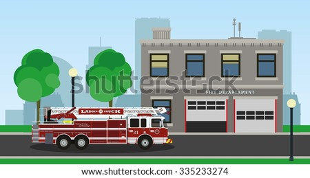The composition of the fire truck and fire station. Vector illustration. - stock vector