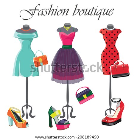 The composition of the three female's colored dresses with high heel shoes and handbags.Bright summer  composition. Fashion vector Illustration - stock vector