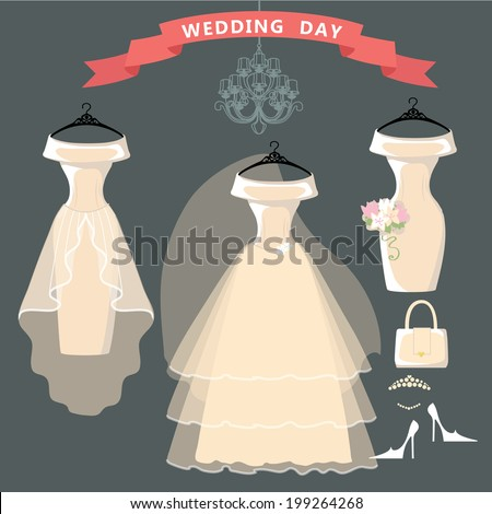 The composition of the three female's wedding dresses,Bridal veil,bouquet,handbags and high-heeled shoes. Bridal shower.Fashion vector Illustration - stock vector