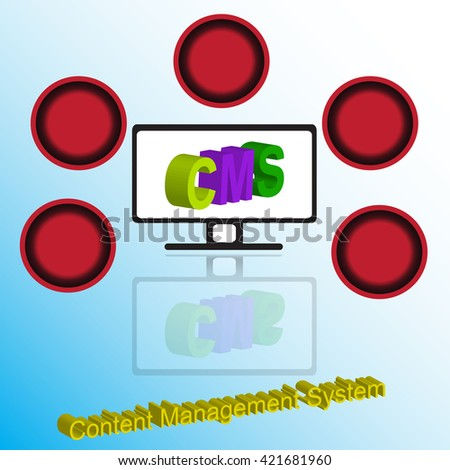 The computer and concept of CMS with shadow and red blank circle for fill fulfill concept for developmant diagram  - stock vector