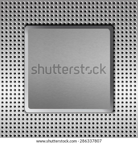 The concave steel plate on the perforated background. Vector illustration.