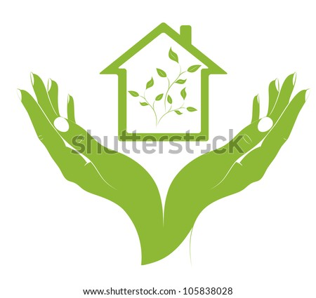 The concept - ecological housing. A symbol eco houses in female hands. Vector. - stock vector