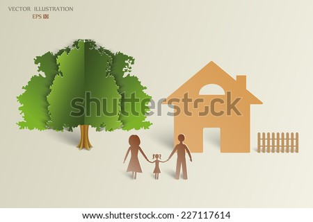The concept of a happy family. Paper shadows happy family on the background of the house and the green tree. Vector illustration - stock vector