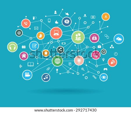 The concept of business communication in a computer network. Abstract network and interface icons - stock vector