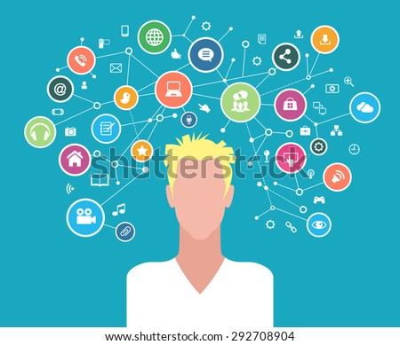 The concept of business communication in a computer network. Avatar of  men surrounded by abstract network and interface icons