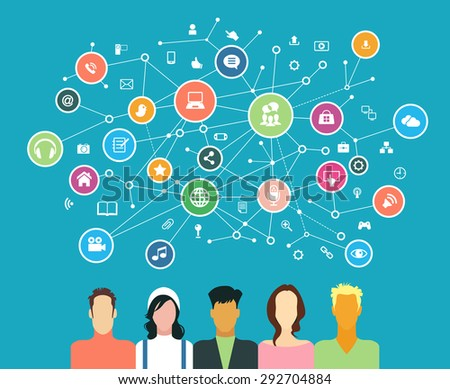 The concept of business communication in a computer network. Avatars of people surrounded by abstract network and interface icons - stock vector