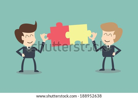 The concept of businessman connection partners - stock vector