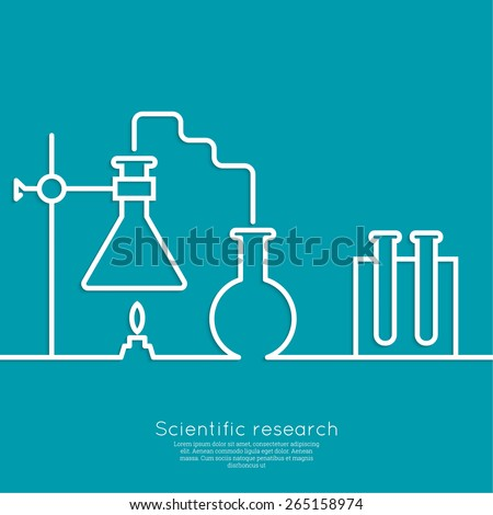 The concept of chemical science research lab retorts, beakers, flasks and other equipment. Biological and scientific tests. discovery  new technologies. minimal. Outline. - stock vector
