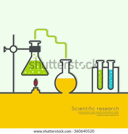 The concept of chemical science research lab retorts, beakers, flasks and other equipment. Biological and scientific tests. discovery  new technologies - stock vector