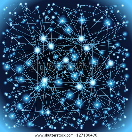 The concept of communication in the network. The nerve cells of human - stock vector