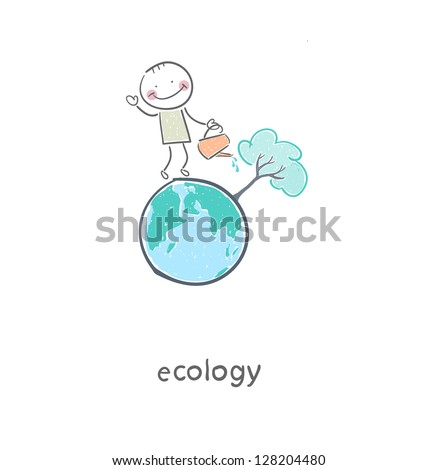 The concept of ecological restoration. A man watering a tree. Illustration. - stock vector