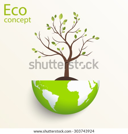 The concept of ecology, to save the planet. Creative drawing on global environment. Silhouette of a tree on the globe. Eco friendly. Vector illustration on white background. Modern design template.