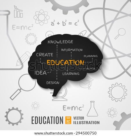 The concept of education of brain. The generation of knowledge. - stock vector