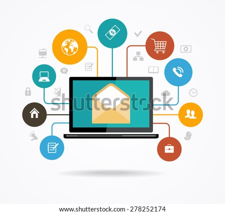 The concept of electronic mail. Marketing design. Modern design computer and an envelope surrounded by colored glass of icons. The file is saved in the version AI10 EPS. - stock vector
