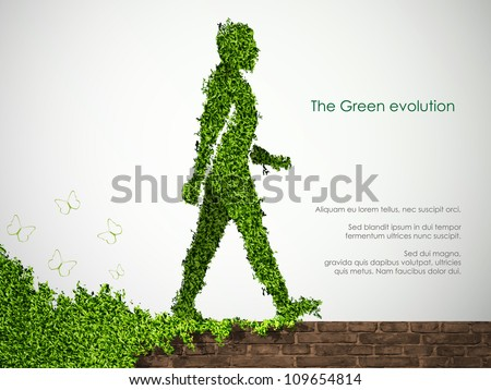 the concept of gardening in the society. Man Plant For Peace - stock vector