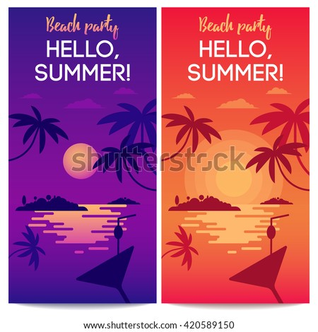 The concept of happy dreaming vacation for traveling blog, web banners or touristic operators. Colorful bright illustration of lonely tropical island. Vector. Easy to edit.