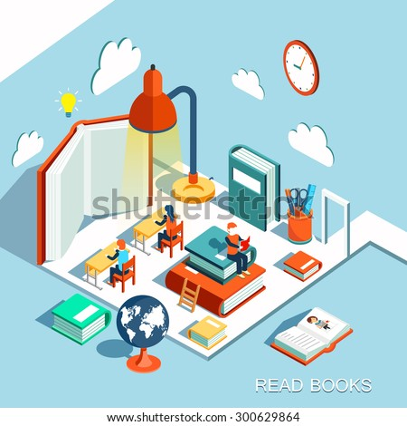 The concept of learning, read books in the classroom, isometric flat design vector - stock vector